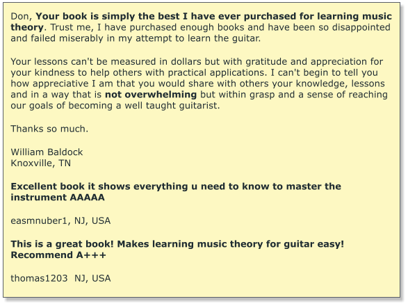 Don, Your book is simply the best I have ever purchased for learning music theory. Trust me, I have purchased enough books and have been so disappointed and failed miserably in my attempt to learn the guitar.   Your lessons can't be measured in dollars but with gratitude and appreciation for your kindness to help others with practical applications. I can't begin to tell you how appreciative I am that you would share with others your knowledge, lessons and in a way that is not overwhelming but within grasp and a sense of reaching our goals of becoming a well taught guitarist.  Thanks so much.  William Baldock Knoxville, TN  Excellent book it shows everything u need to know to master the instrument AAAAA  easmnuber1, NJ, USA  This is a great book! Makes learning music theory for guitar easy! Recommend A+++  thomas1203  NJ, USA